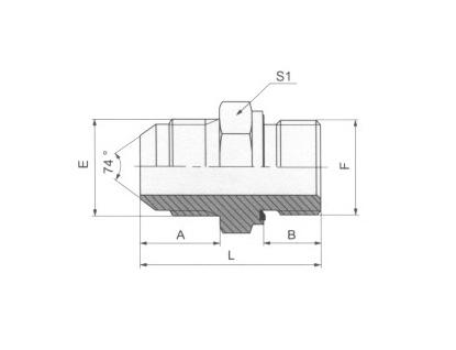 JIC外螺纹74°外锥/英管外螺纹胶垫密封